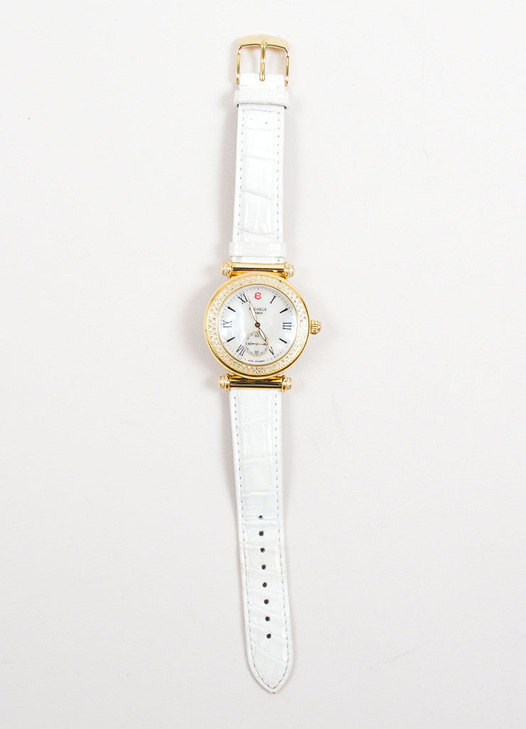 "Michele Gold Toned and Diamond White Alligator Leather Band ""Caber"" Watch Frontview"