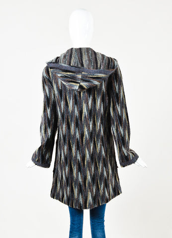 Missoni Brown Black and Grey Mohair Blend Striped Hooded Cardigan Back