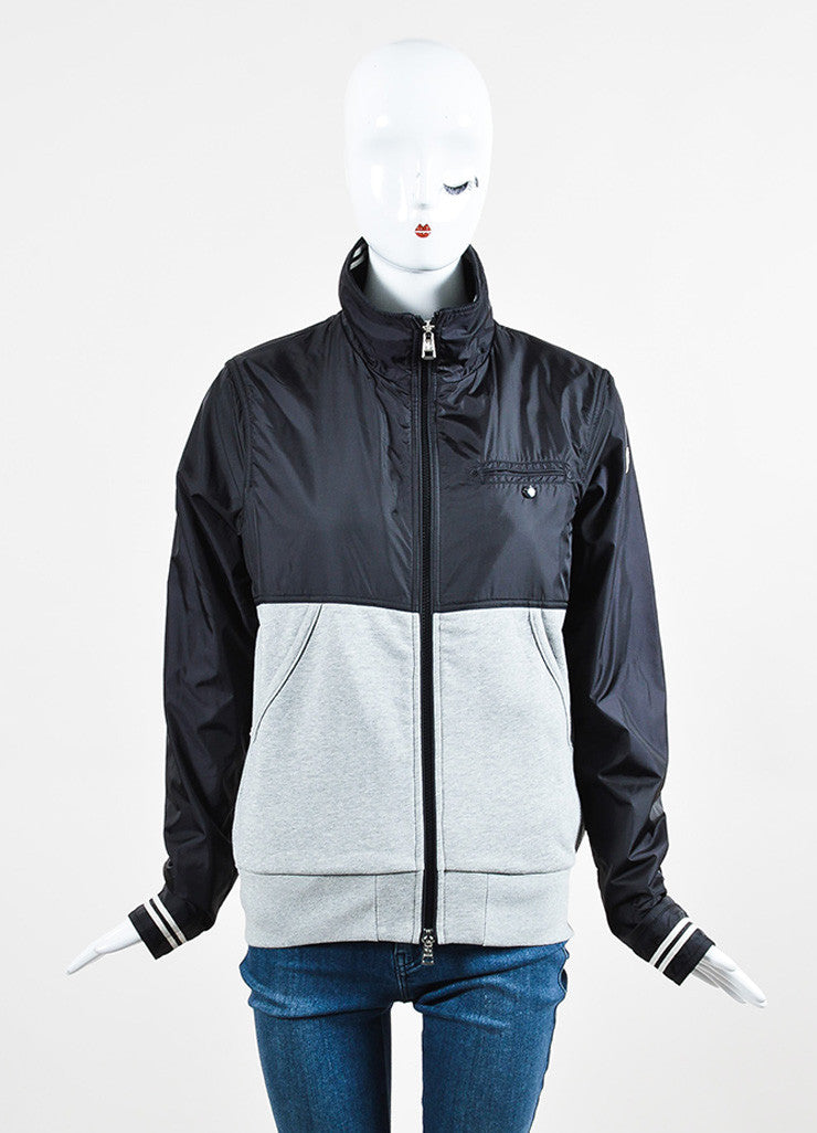 Moncler Black and Grey Knit Nylon Zip Up Windbreaker Jacket Frontview 2