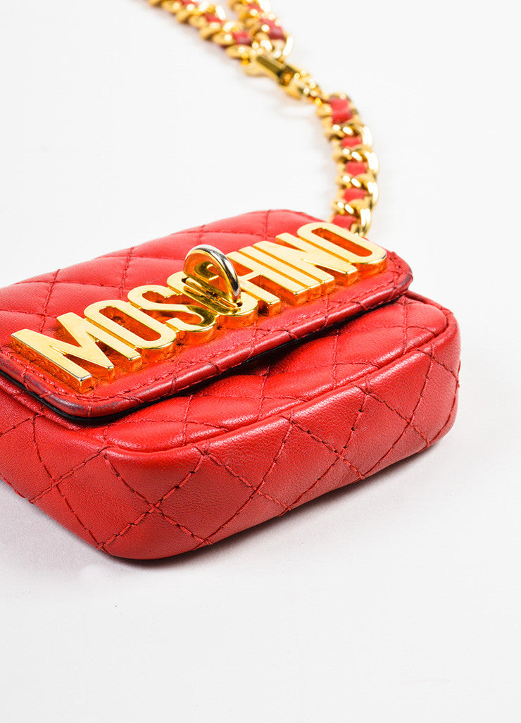 Moschino Red and Gold Toned Leather Quilted Mini Crossbody Belt Bag bottom View