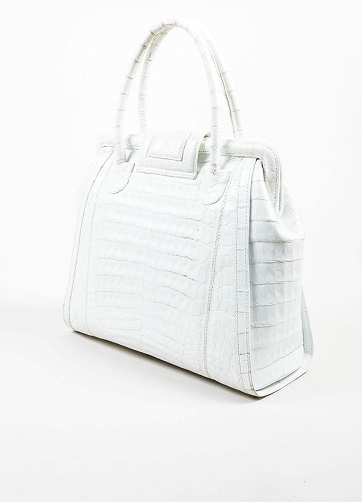 White Nancy Gonzalez Genuine Crocodile Leather Structured Satchel Bag Sideview