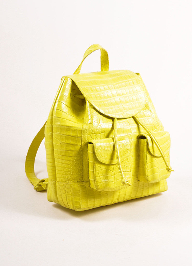 Nancy Gonzalez Neon Yellow Crocodile Leather Drawstring Backpack Sideview