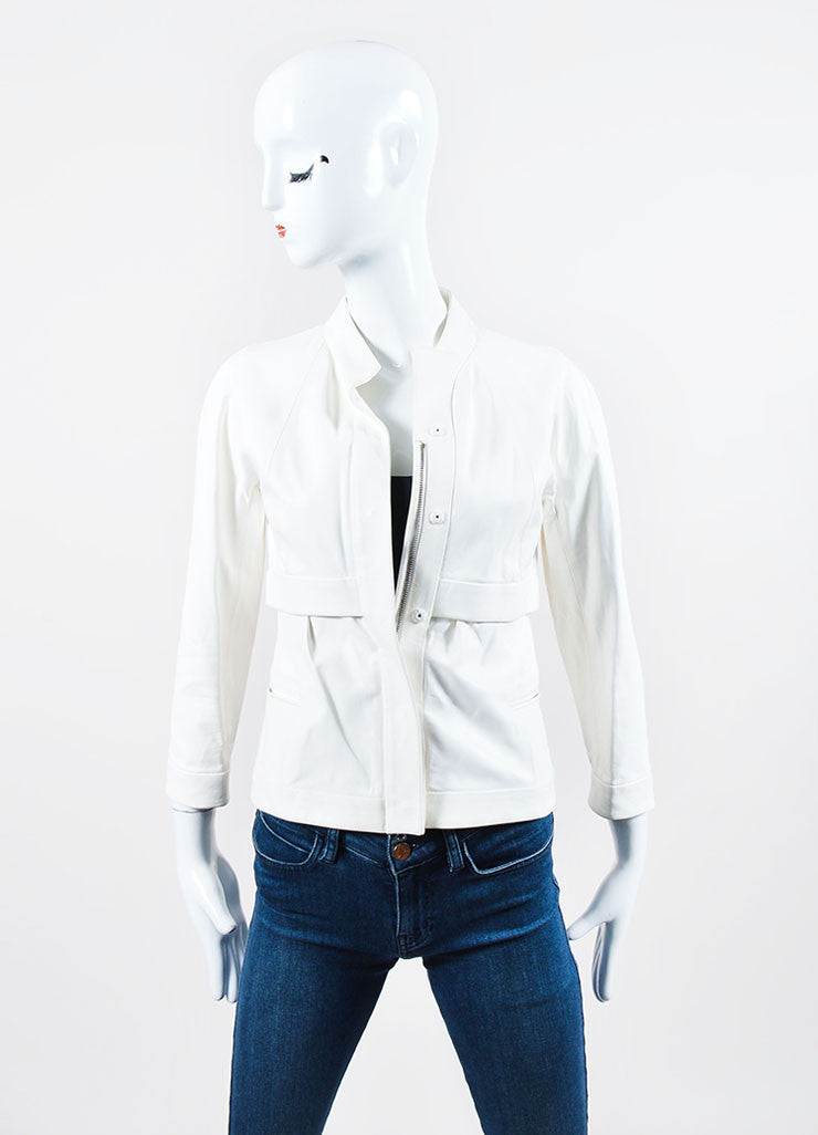 White Narciso Rodriguez Leather Collarless Jacket Frontview