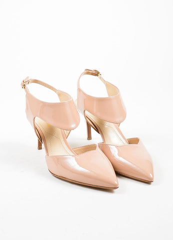"Nude Nicholas Kirkwood Patent Leather ""Leda"" Cut Out Pumps Frontview"
