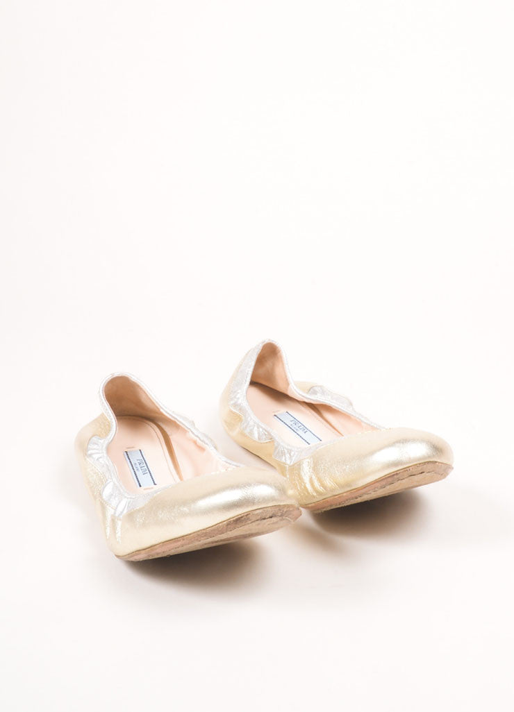 Prada Gold Leather Elastic Flats  Frontview