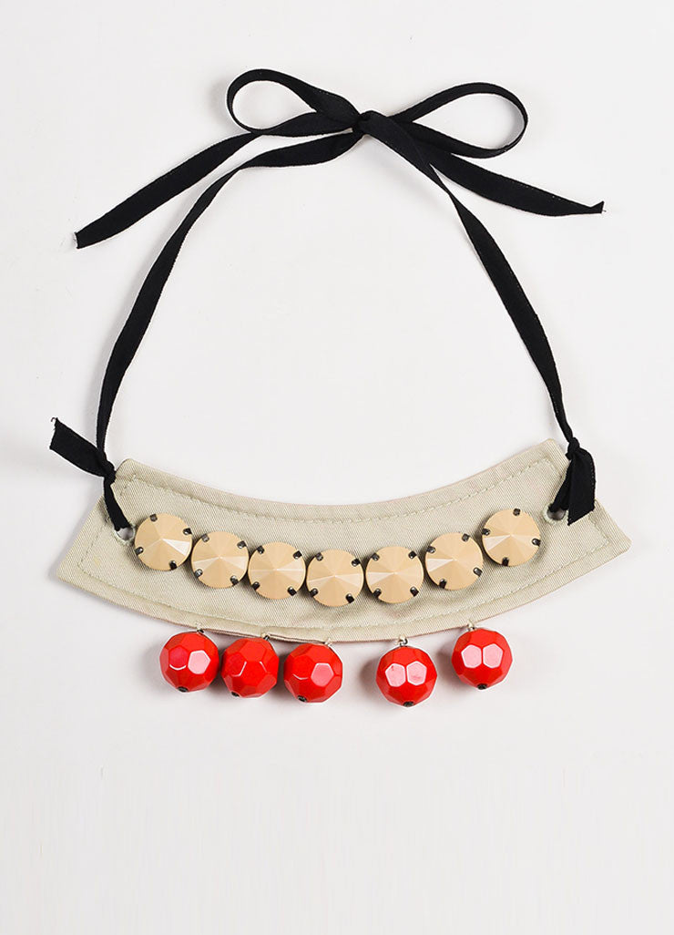 Prada Tan, Red, and Black Faceted Bead Cotton and Silk Tie Statement Bib Necklace Frontview