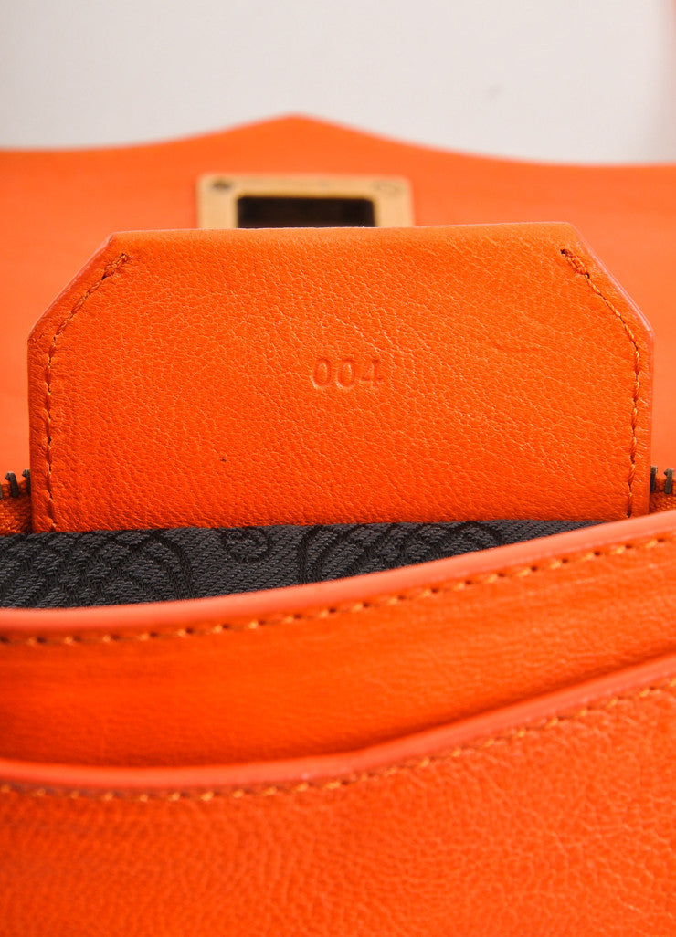 "Proenza Schouler Orange Leather Latch Flap ""PS1 Pochette"" Clutch Bag Serial"