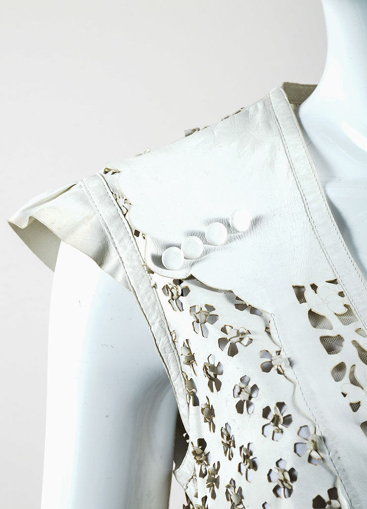 Roberto Cavalli Ivory Leather Perforated Cut Out Vest Detail