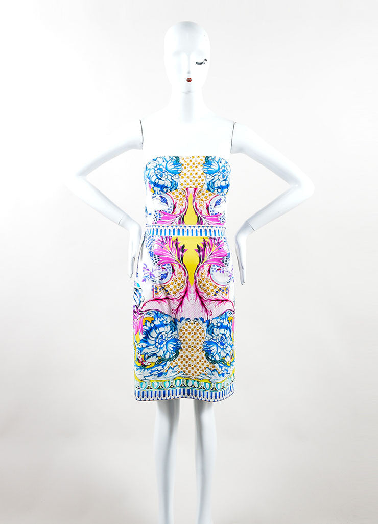 Multicolor Printed Roberto Cavalli Strapless Cocktail Dress Frontview