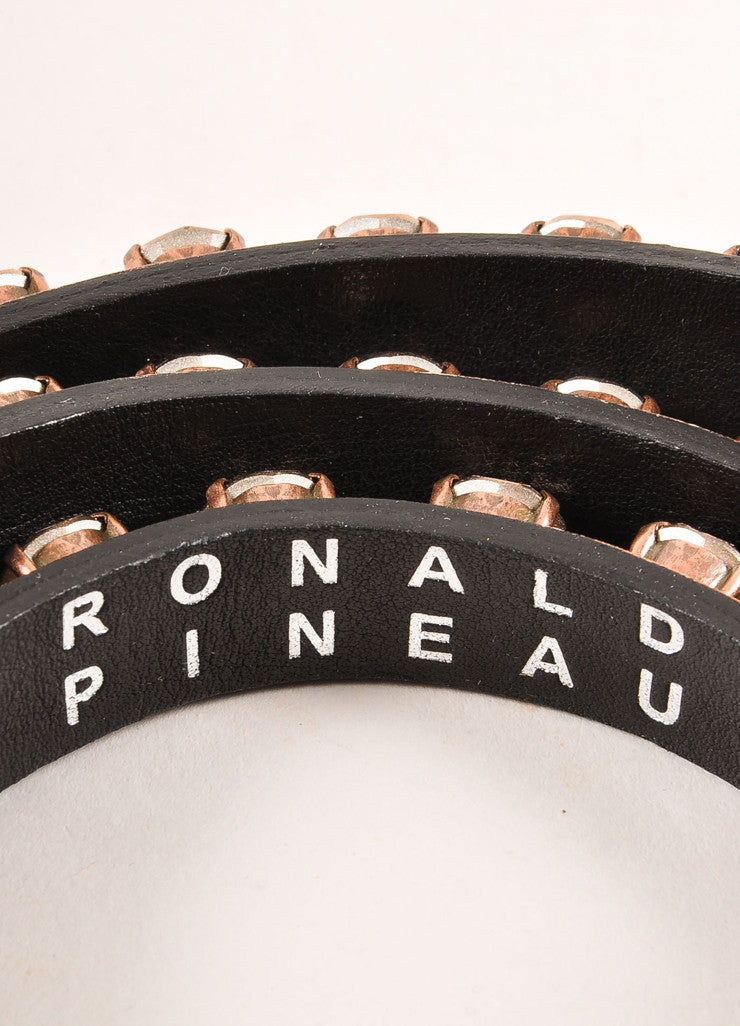 Ronald Pineau New With Tags Nude Leather Rhinestone Studded Skinny Belt Brand