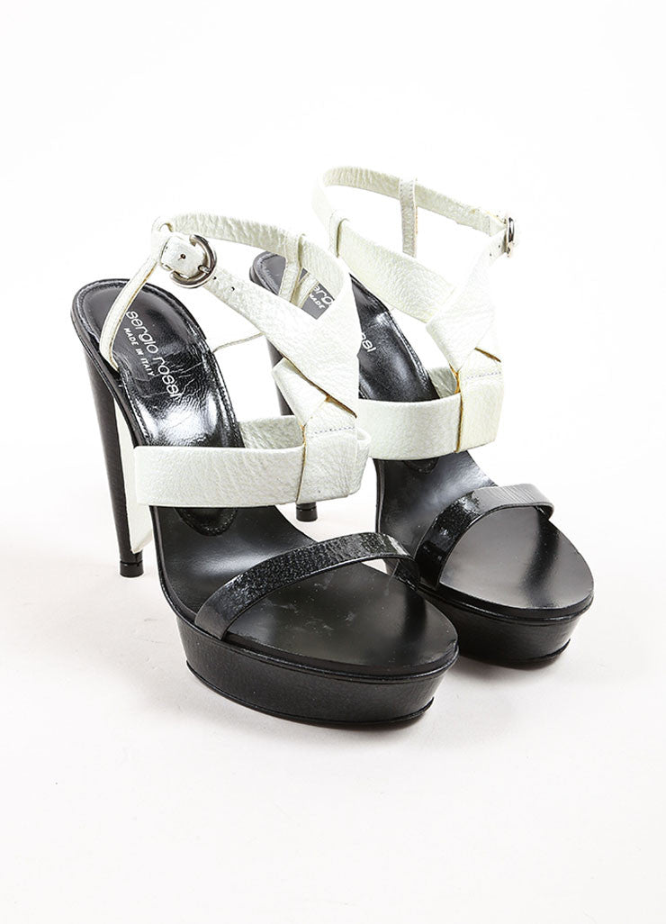 Sergio Rossi Black and White Patent Leather Platform Sandal Heels Frontview