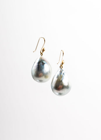 Ted Muehling 14K Gold and Grey Baroque Tahitian Pearl Drop Earrings Frontview