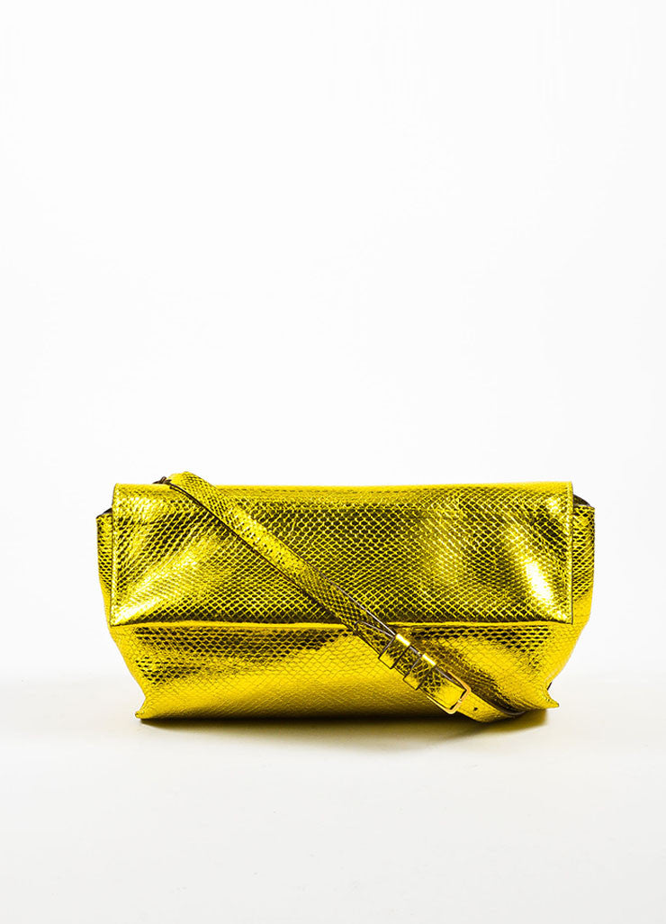 The Row Gold and Yellow Metallic Python Small Flap Bag Frontview