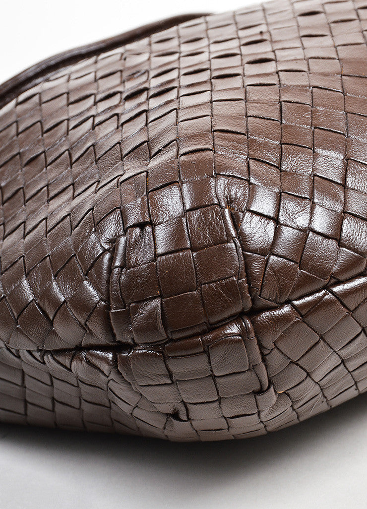 Bottega Veneta Brown Woven Leather Shoulder Bag Detail