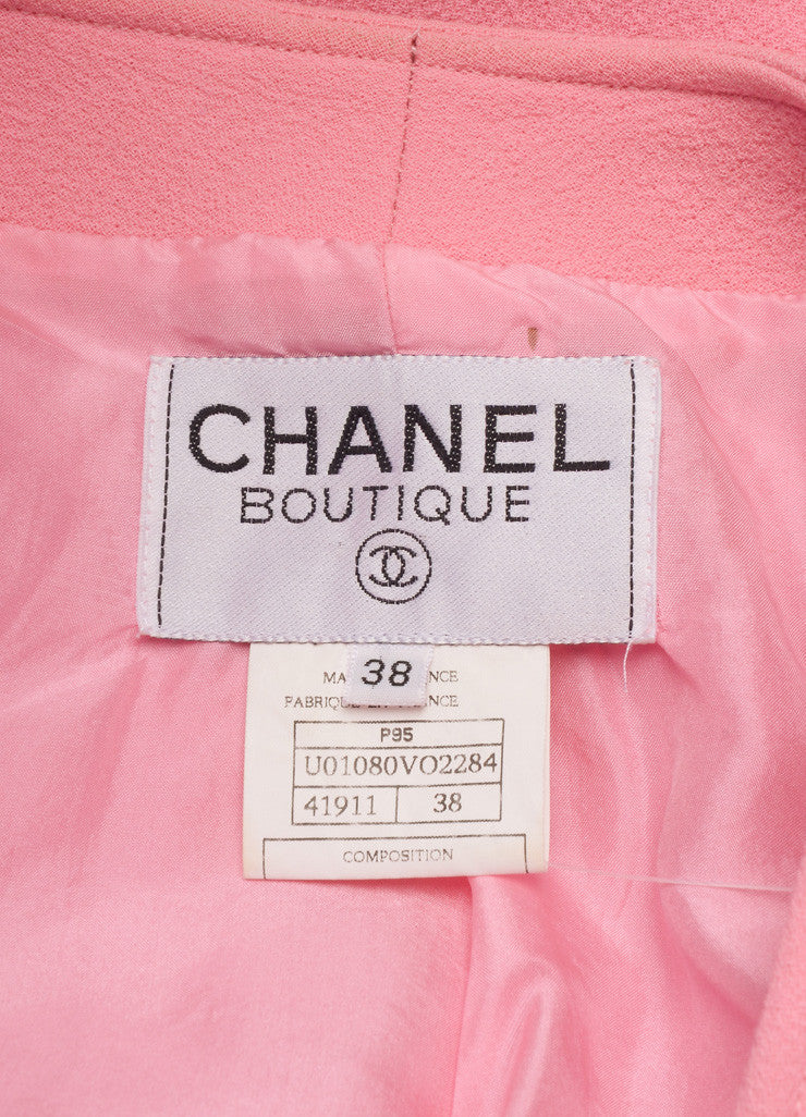 "Chanel Pink ""CC"" Button Crepe Wool Collarless Jacket Brand"