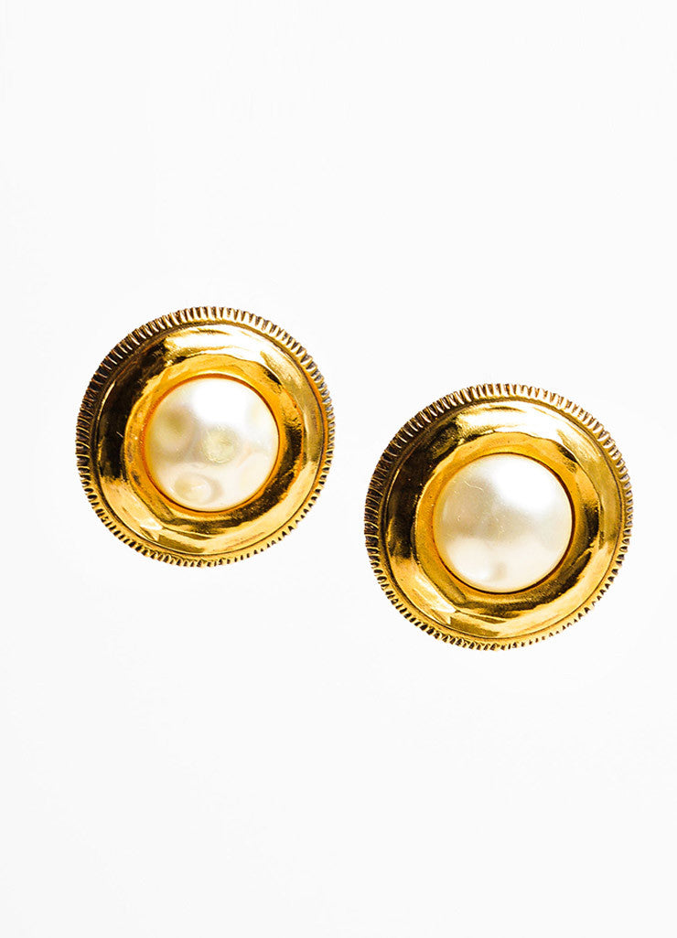 Chanel Gold Toned and Faux Pearl Round Clip On Earrings Frontview