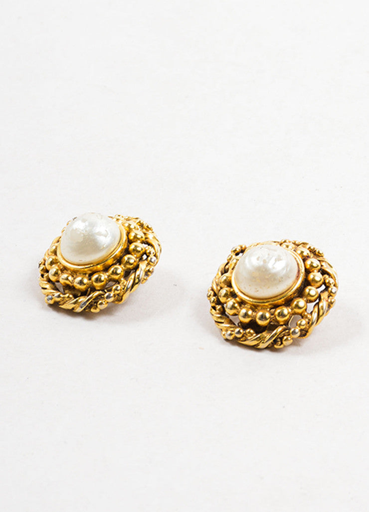Chanel Gold Toned and Faux Pearl Textured Round Earrings Sideview
