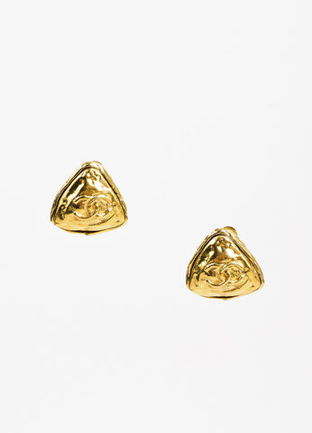 Chanel Gold Toned Hammered 'CC' Triangle Clip On Cocktail Earrings Frontview