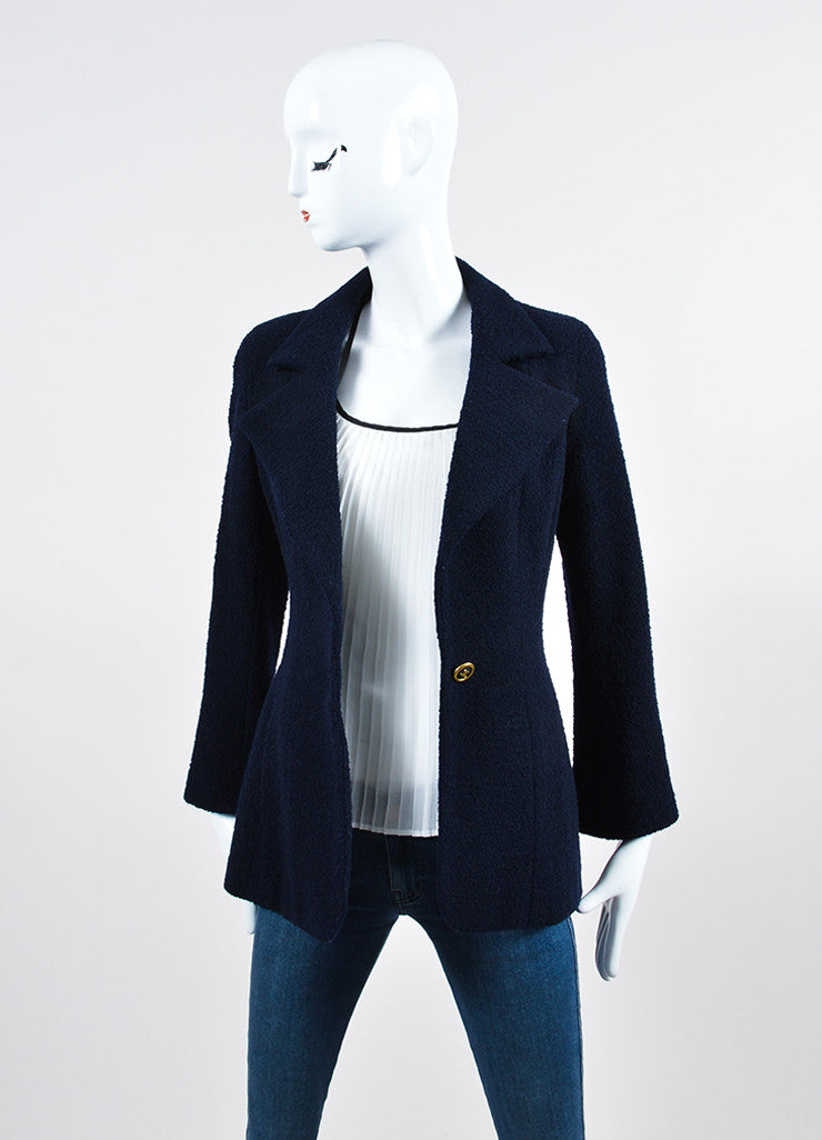 Navy Blue Chanel Wool Boucle 'CC' Button Blazer Frontview