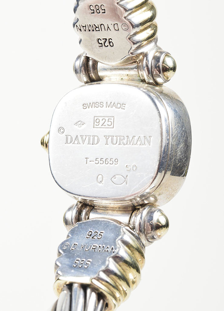Sterling Silver and 14K Yellow Gold David Yurman Cable Watch Detail