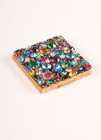 Elgin American Gold Toned and Multicolor Rhinestone Compact Mirror Frontview