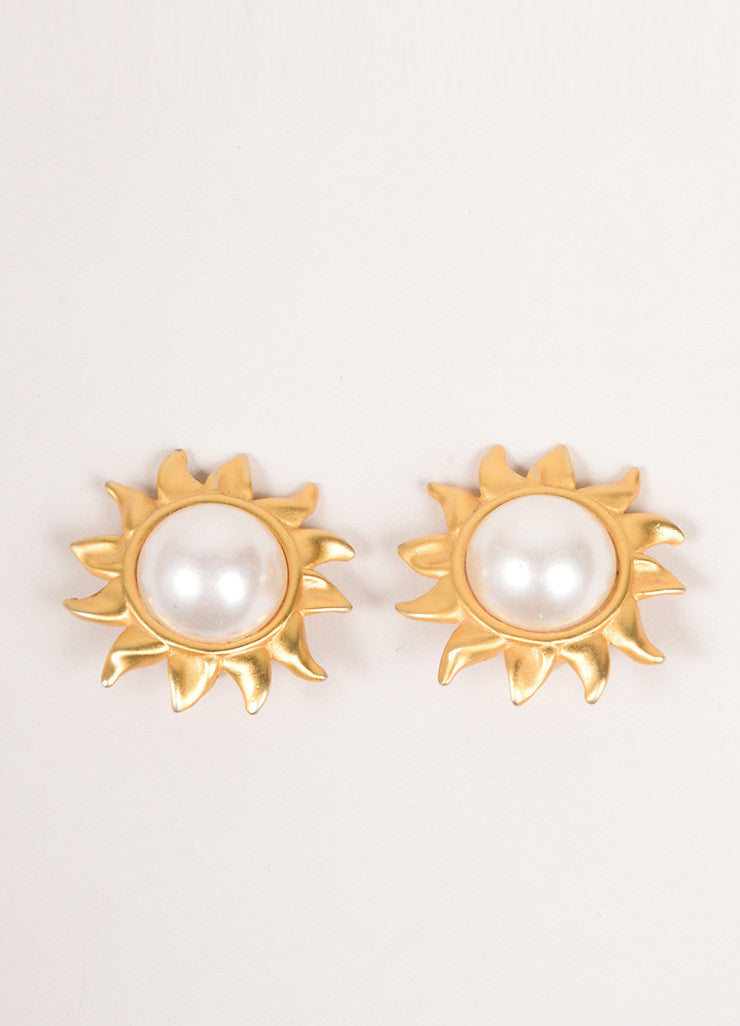 Vintage Gold Tone Cream Faux Pearl Embellished Sun Oversized Clip On Earrings Frontview