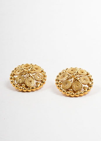 Goossens Gold Toned Swirl Textured Circle Cocktail Earrings Sideview