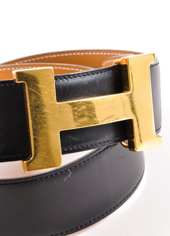 Vintage Hermes Black Gold Tone 'H' Buckle Leather Belt Sideview