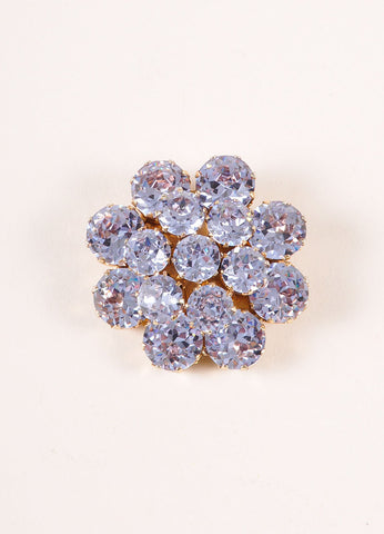 Kramer Blue and Gold Tone Rhinestone Gem Floral Pin Brooch Frontview