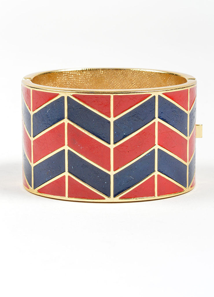 Gold Toned, Red, and Navy Lanvin Enamel Chevron Hinged Wide Bangle Bracelet Frontview