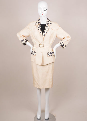Thierry Mugler Cream and Black Silk Leopard Belted Jacket Skirt Suit Frontview