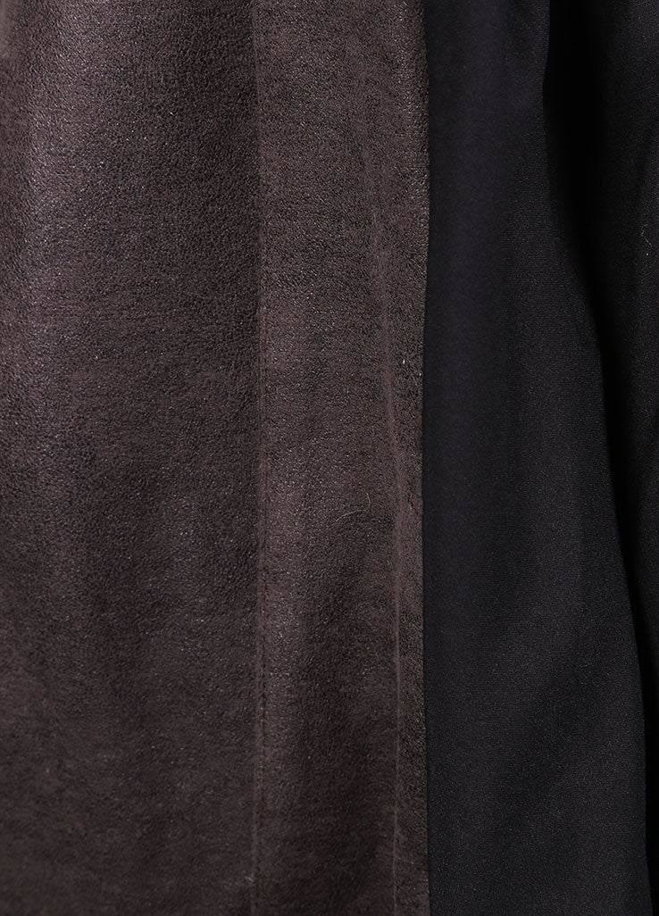 VPL Black and Grey Suede Panel Draped Jacket Detail