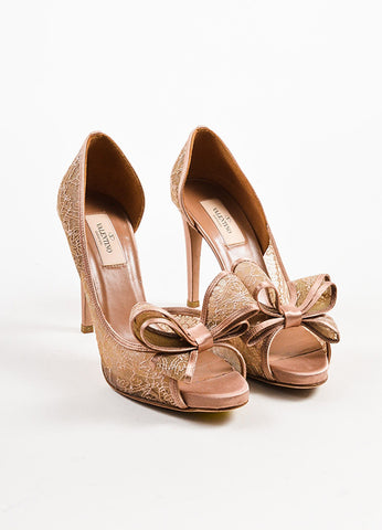 Blush Valentino Satin and Lace Bow Peep Toe d'Orsay Pumps Front