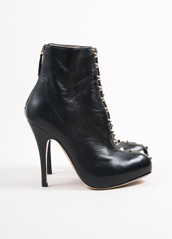 "Valentino Black Leather ""Rockstud"" Platform Heel Ankle Boots Sideview"