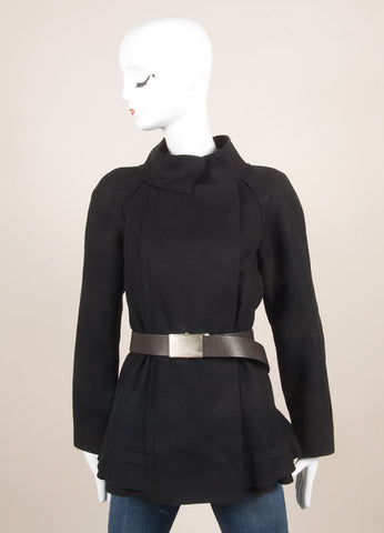 Vera Wang Black Wool Exposed Seam Ruffle Belted Long Sleeve Jacket Frontview