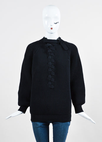 Black Victoria Beckham Cotton Chunky Knit Center Plait Sweater Frontview