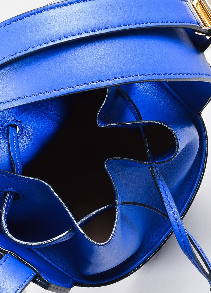 Cobalt Blue Victoria Beckham Croc Embossed Bucket Bag Detail 4