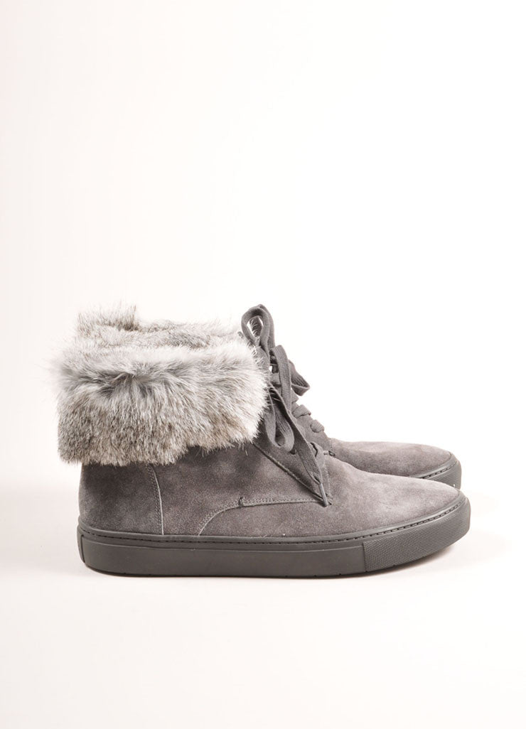 "Vince New In Box Grey Suede Leather Rabbit Fur Trim ""Nyack"" Hi Top Sneakers Sideview"