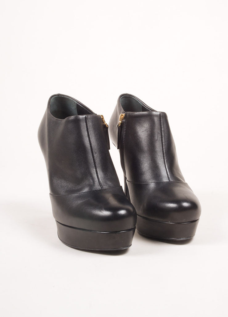 "Yves Saint Laurent Black Leather High Heel ""Gisele"" Ankle Booties Frontview"