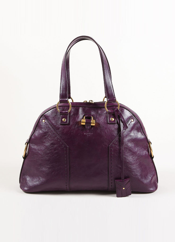 "Dark Purple and Gold Toned Leather Yves Saint Laurent ""Muse"" Zip Satchel Handbag"