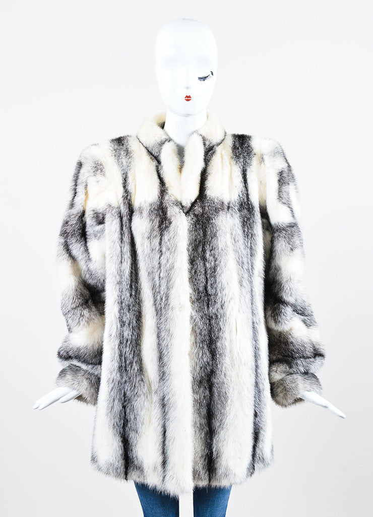 Black and White Yves Saint Laurent Fourrures Striped Fur Chubby Coat Frontview