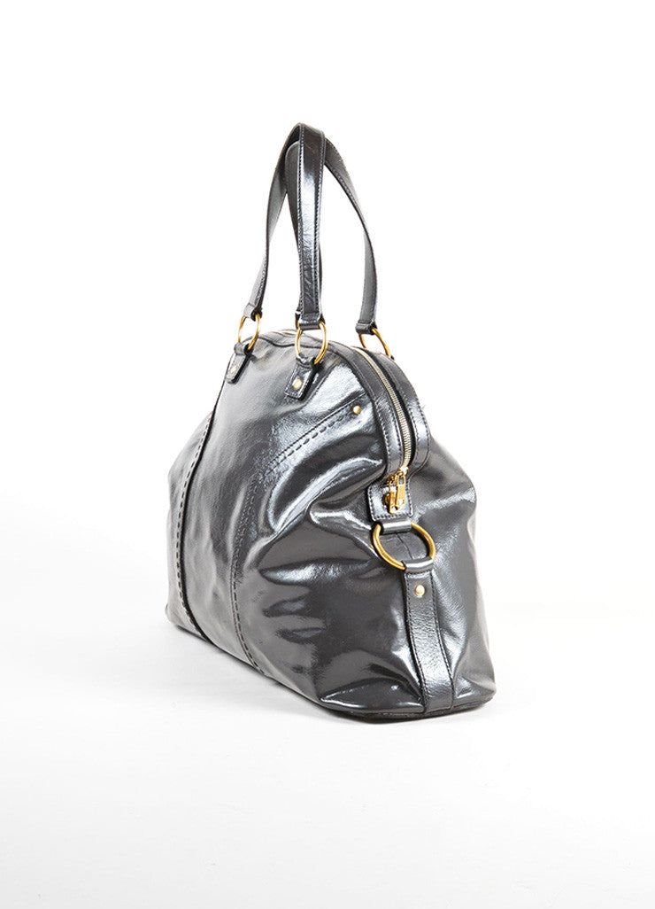 "Yves Saint Laurent Grey and Gold Toned Patent Leather ""Muse"" Tote Bag Sideview"
