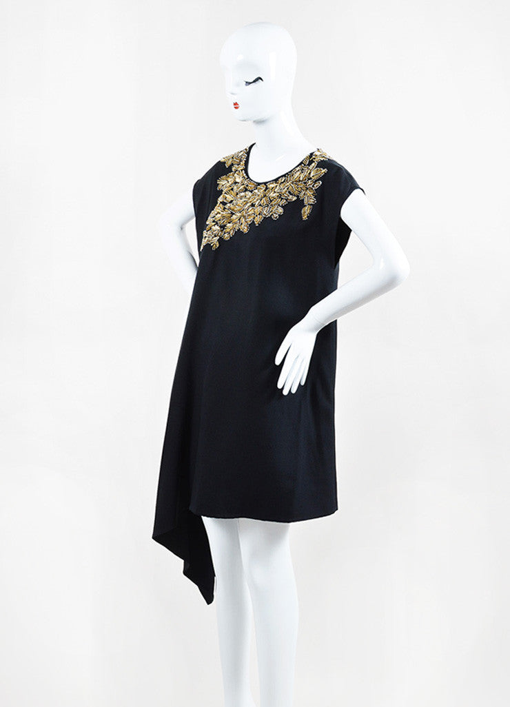 3.1 Phillip Lim Black Gold Beaded One Shoulder Drape Sleeveless Tunic Sideview