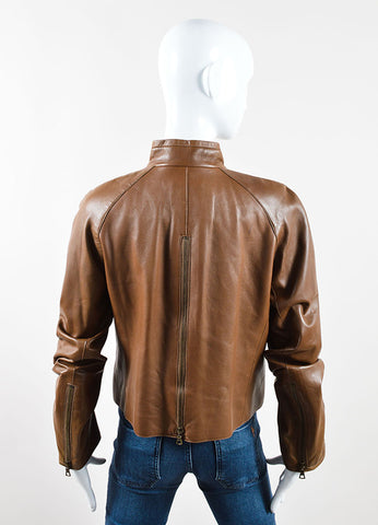 Akris Brown Leather Zip Jacket Backview