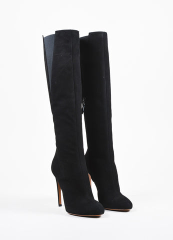 Alaia Black Suede Elastic Round Toe Knee High Heeled Boots Frontview