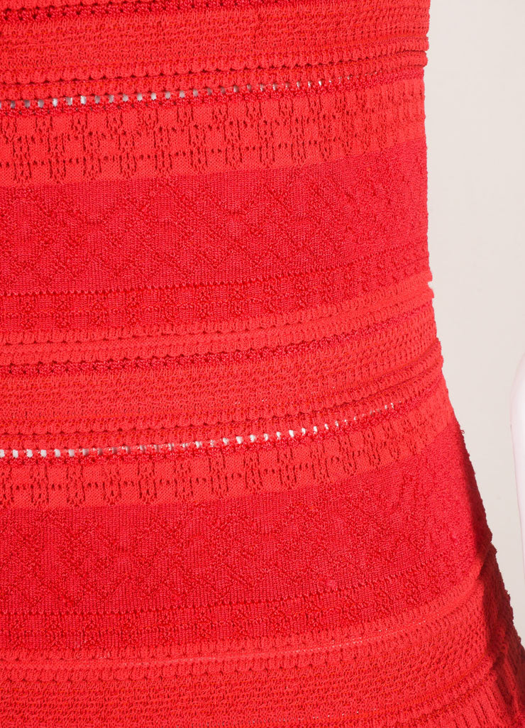 Alaia Red Silk Stretch Knit Sleeveless Flounce Flared Dress Detail
