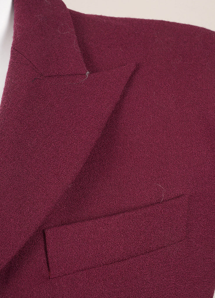 Alexander McQueen Maroon Wool Zip Up Short Sleeve Sheath Dress Detail