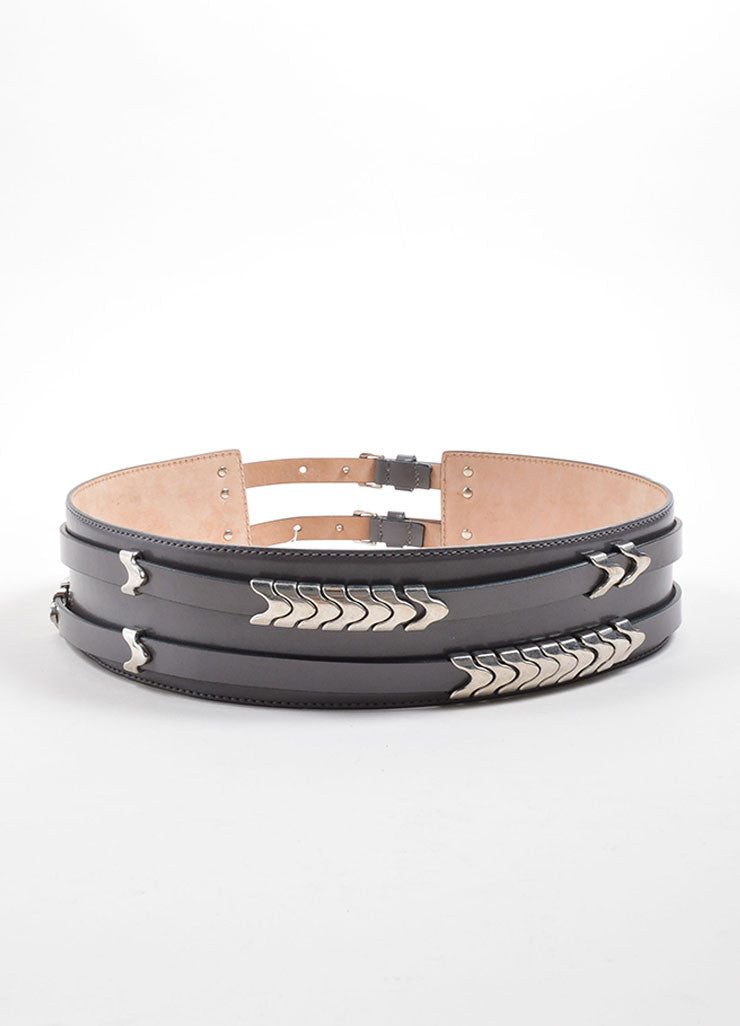 Alexander McQueen Grey and Silver Toned Leather Snake Waist Belt Backview
