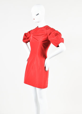 Alexander McQueen Red Silk Taffeta Puff Sleeve Fit and Flare Mini Dress Sideview