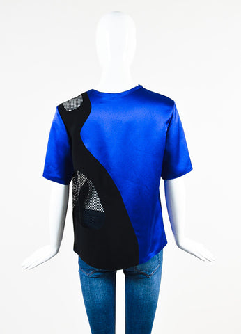 Alexander Wang Blue and Black Mesh Cut Out Short Sleeve Top Backview